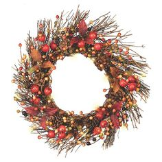 Philips Battery Operated Lit Berry Wreath  - 18IN