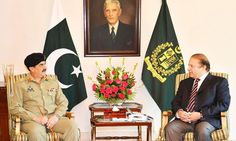 General Raheel Sharif called on Prime Minister Nawaz Sharif on Tuesday at Prime Minister House during which on-going Rangers operation against criminal elements.