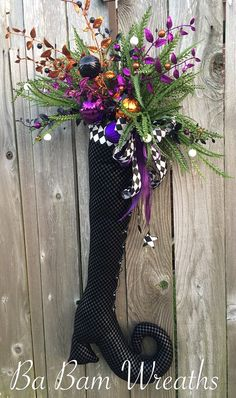 Witch Door Hanger Witch Wreath Halloween Wreath by BaBamWreaths