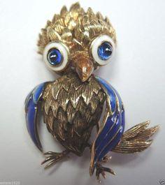 Retro Owl Enamel Pin 14K Yellow Gold Art Deco Vintage Estate Brooch Enamel Wings #Handmade