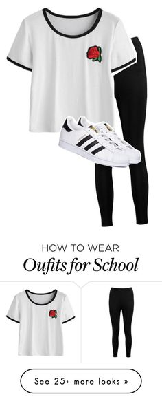 """school"" by jasminelovesya-2 on Polyvore featuring Boohoo and adidas"