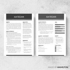Zone Resume Template + Cover Letter by Made By Hamilton on @creativemarket
