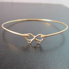 Gold Bow Bracelet Bow Bangle Bracelet Bridesmaid by FrostedWillow