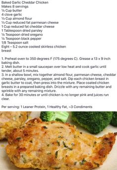 Diet Recipes, Chicken Recipes, Cooking Recipes, Healthy Recipes, Medifast Recipes, Chicken Meals, Diabetic Recipes, Baked Chicken, Kitchens