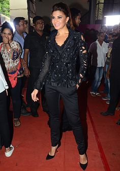 Jacqueline Fernandez in a Pankaj & Nidhi jacket, Outhouse jewellery and Jimmy Choo shoes