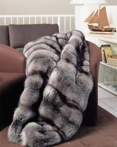 recycling silver fox fur coat into blanket