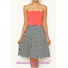 strapless coral dress from Sta-Glam for $35.99 on Square Market