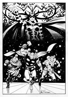 Hela, Thor, Hogun, Fandrall by John Buscema Comic Book Pages, Comic Book Artists, Comic Book Covers, Comic Book Heroes, Comic Artist, Comic Books Art, John Buscema, Sal Buscema, Loki Thor