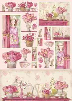 Decoupage Paper Pinky house