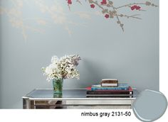 Wall color: Benjamin Moore Nimbus Gray (soothing gray with blue undertones)