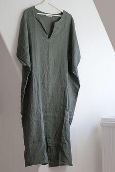 Kaftan dress 100% washed linen Linen Tunic Dress, Kaftan, Blush, Short Sleeve Dresses, Jewelry, Tops, Women, Fashion, Moda