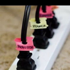 use old bread ties to label cords.