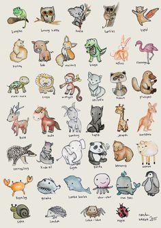 cute animals potrait. watercolor used
