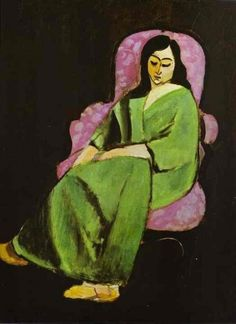 Laurette in a Green Dress on Black Background ~ Matisse