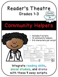 4 easy scripts that include 12 community helpers. Integrate drama, ELA, and social studies. Perfect for grades Social Studies Communities, Social Studies Resources, Teaching Social Studies, History Interactive Notebook, Social Studies Notebook, Interactive Notebooks, History Education, Teaching History, Library Activities