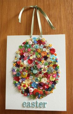 11 Cute Button Crafts To Try - The Wonder Cottage - 11 Cute Button Crafts To Try for Easter - Easter Arts And Crafts, Bunny Crafts, Easter Crafts For Kids, Spring Crafts, Holiday Crafts, Diy Art Projects, Easter Projects, Project Ideas, American Crafts
