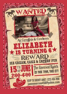 Wanted - All Cowgirls & Cowboys Birthday Invitation, Thank You Card and Envelope Seal, on Bandana Background