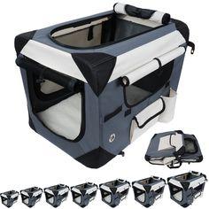 Foldable Dog Cat Cage Crate Canvas Car Transport Travel Basket Pet Cage Box u077 | eBay