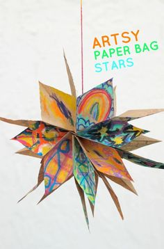 artsy paper bag stars a great way to showcase children's artwork! The post Artsy Paper Bag Stars! appeared first on Paper Diy. Diy Paper Bag, Paper Bag Crafts, Paper Crafting, Mobiles, Art For Kids, Crafts For Kids, Paper Bag Puppets, Childrens Artwork, Star Diy