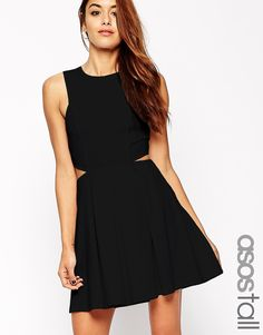 ASOS TALL Skater Dress In Texture With Cut Out Sides