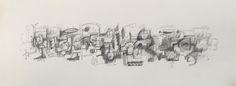 Título: Pelea Callejera  Autor: Alvaro Galindo Vácha  Dimensiones: 27,5 x 76 cm  Técnica: Lápiz sobre papel  Año: 2003  Firmado: Frente y Revés
