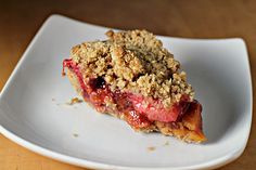 Deep-Dish Strawberry Rhubarb Pie with Crumb Topping - Joanne Eats Well With Others No Cook Desserts, Just Desserts, Delicious Desserts, Dessert Recipes, Dessert Ideas, Strawberry Rhubarb Pie, Rhubarb Crumble, Rhubarb Recipes, Deep Dish