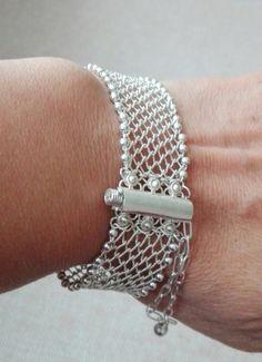Macrame Bracelets, Metal Bracelets, Hair Jewelry, Jewellery, Viking Knit, Wire Crochet, Wire Weaving, Silver Filigree, Jewelry Patterns