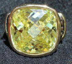 Vintage Peridot Rhinestone Statement Ring by HeidisTreasureChest