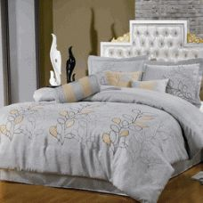 """Queen Size 11Pc Silver Linen Bed in a Bag    11 Piece Luxury Bedding Set. *The colors of this set are combination of Silver Linen with brown stitching and beige suede leaf pattern stitched on. Queen Size 11-Piece set includes: 1- Comforter 92""""Wx96""""L, 1-Bed-skirt 60""""Wx80""""L, 2-Standard Pillow Shams 20""""Wx26""""L, 1- cushion 16""""x16"""", 1- breakfast pillow 12""""x16"""", 1- Neck Roll 6.5""""x16"""", 1- Queen Flat sheet, 1-Queen Fitted Sheet fit mattress up to 16"""" deep, and 2-Standard Pillowcases"""