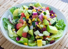 Black Bean Corn and Avocado Salad. Black Bean Corn and Avocado Salad Recipe Corn Avocado Salad, Avocado Salad Recipes, Healthy Salad Recipes, Vegetarian Recipes, Cooking Recipes, Tomato Salad, Clean Eating, Healthy Eating, Dinner Healthy
