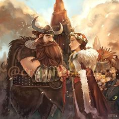 Dessins fanart Dragons, La Reine Des Neiges, Vice-Versa, etc ... < Stoick and Valka. :)