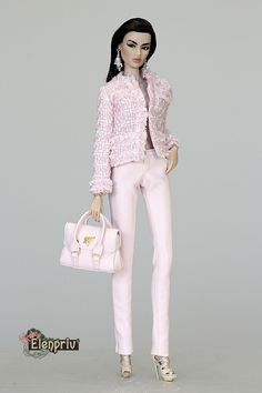 "ELENPRIV Pink Chanel style jacket with full chiffon lining for Fashion royalty FR2 12"" and similar body size dolls. by elenpriv on Etsy"