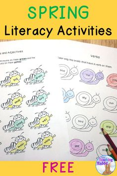 Here are 8 pages of FREE literacy activities for Spring! *Spring Reading Comprehension *Synonym Match *Alphabetical Order *Nouns and Adjectives *Add Your Own Adjectives *Verbs *Butterfly Life Cycle Sequencing and Writing Activity (2 pages)