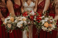 Winter wedding red bridesmaid dresses and winter wedding flower inspiration! Shop these red bridesmaid dresses at David's Bridal | Photo by Leigh Anne Brader Photography Winter Wedding Flower Inspiration, Winter Wedding Flowers, Red Wedding, Red Bridesmaid Dresses, Wedding Dresses, Whimsical Wedding, Davids Bridal, Wedding Details, Wedding Planning