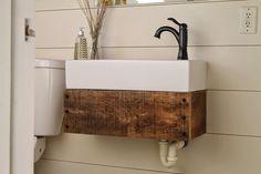 Hide the Plumbing! Rustic Wooden Sink Shelf