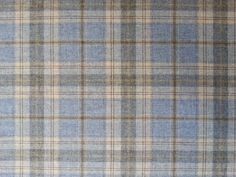 CHESS BALMORAL LOCH 100% WOOL TARTAN CHECK BLUE BEIGE CURTAIN UPHOLSTERY FABRIC #Chess