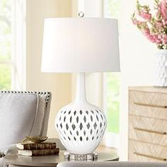 Basket weave style body cutouts bring a homey feel to this gorgeous white ceramic table lamp. Cheap Table Lamps, Red Table Lamp, Metal Table Lamps, Ceramic Table Lamps, Lamp Sets, White Ceramics, Euro, Bedside, Nightstand