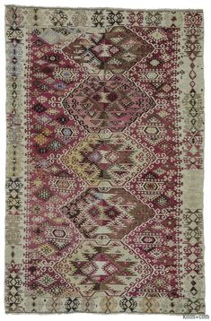 Antique Reyhanli kilim rug with two wings. This finely-woven kilim was handwoven in early 20th century and it is in very good condition. Reyhanli is a district of Hatay Province, on the Mediterranean coast of Turkey.