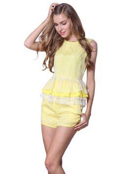 Yellow Sleeveless Plaid Cascading Ruffle Top With Shorts