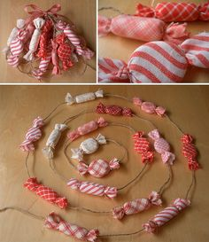 Peppermint Garland: Fabric wrapped mints on twine, Fun to use on the Christmas tree, or as party decor (Hang either like a curtain or swagged). Created by PatchworkPottery