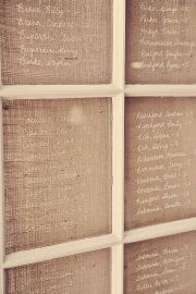 Burlap + window pane