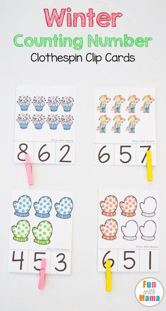 FREE printable preschool, prek and kindergarten students count and clip cards are a fun clothespin activity that works on fine motor skills, numbers, number recognition and counting. Great for math centers! via @funwithmama