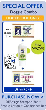Doggie Combo with Shampoo Bar, Skin Rescue Lotion and Conditioner Bar, on sale for September only!