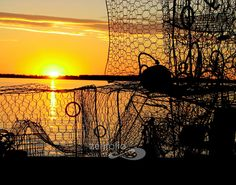 Crab pots and sunset at Bushwood Wharf in Bushwood, MD in St. Mary's County