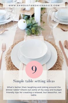 With all the gathering and holidays coming up, we all need some easy, simple, budget friendly table setting ideas that anyone can use. The Gathering, Dinner Table, Budgeting, Table Settings, High Heels, Holidays, Table Decorations, Simple, Easy
