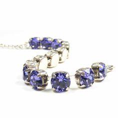 XmasEtsyUK Swarovski Crystal Bracelet Tanzanite by Blucha on Etsy, $36.99