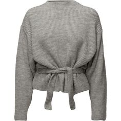 Knit belt sweater ❤ liked on Polyvore featuring tops, sweaters, gray sweater, grey top, grey sweater, knit belt and gray top