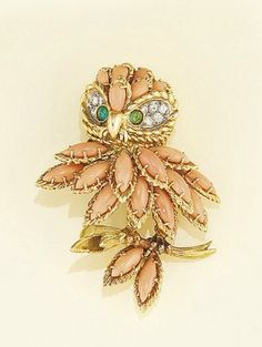 A diamond, coral and emerald owl brooch, by Gubelin - Christie's