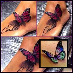 Butterfly tattoo designs are the epitome of classic feminine tattoos. They are the entry point for even the most girly of girls to discover their love of ink Realistic Butterfly Tattoo, Purple Butterfly Tattoo, Butterfly Tattoos For Women, Butterfly Tattoo Designs, Butterfly Design, Watercolor Butterfly Tattoo, Foot Tattoos For Women, Foot Tattoos Girls, Butterfly Colors