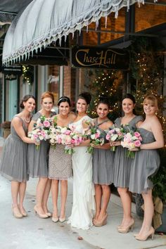 Love the gray/nude for bridesmaids!